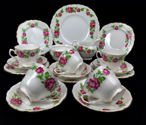 Royal Vale 7201 Pink Rose China Tea Set For 5 / Trio / Vintage / Floral